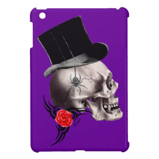 Gothic skull and rose tattoo style iPad mini covers
