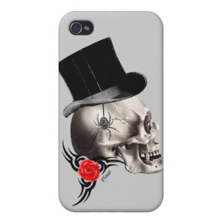 Gothic skull and rose tattoo style iPhone 4 cases