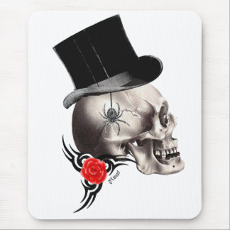 Gothic skull and rose tattoo style mouse pad