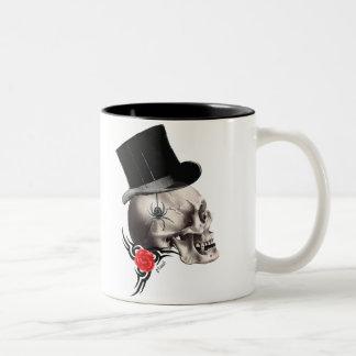 Gothic skull and rose tattoo style mug