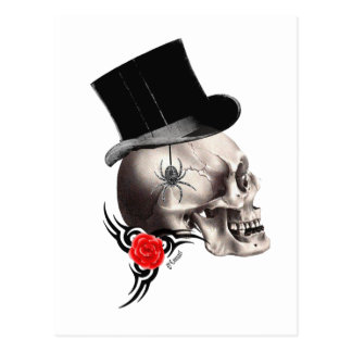 Gothic skull and rose tattoo style postcard