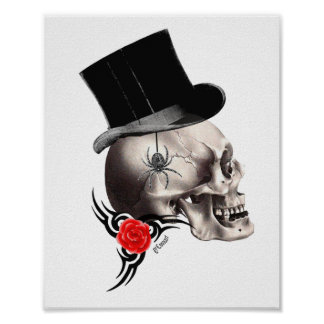 Gothic skull and rose tattoo style poster