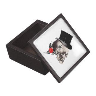 Gothic skull and rose tattoo style premium trinket box