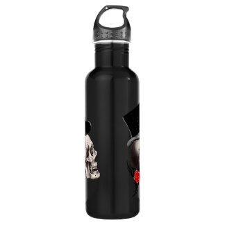 Gothic skull and rose tattoo style water bottle