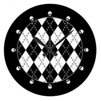 Gothic Skull Argyle Large Clock