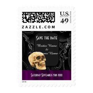 Gothic skull black save the date postage stamp
