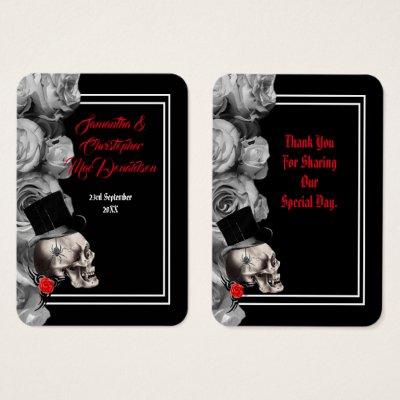 Gothic skull black wedding thank you tag