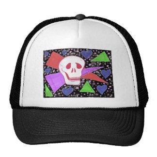 Gothic Skull blue heart black Trucker Hat
