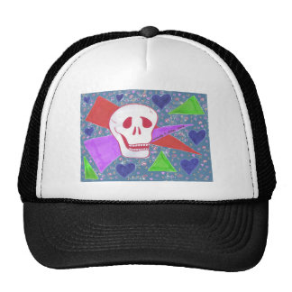 Gothic Skull blue heart blue Trucker Hat