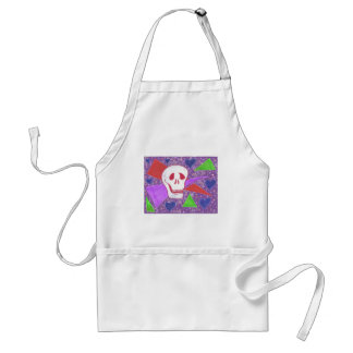 Gothic Skull blue heart lilac Adult Apron