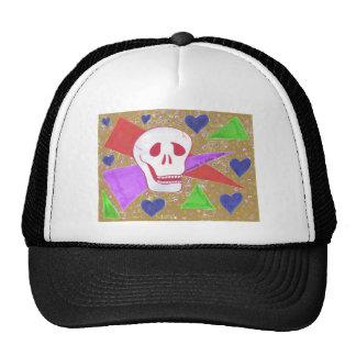 Gothic Skull blue heart tan Trucker Hat