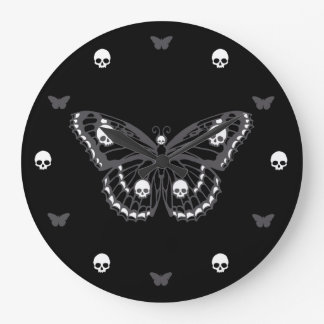 Gothic Skull Butterfly Round Wallclock
