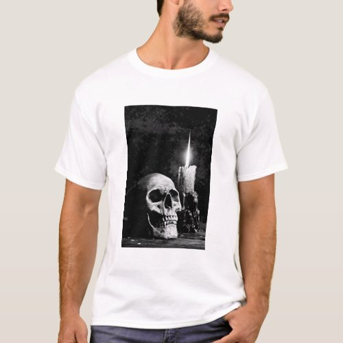 gothic skull candle T_Shirt