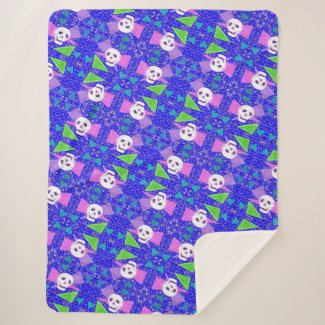 Gothic Skull - Cool Brights - Blue Sherpa Blanket