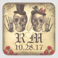 Gothic Skull couple Day of Dead Wedding Stickers