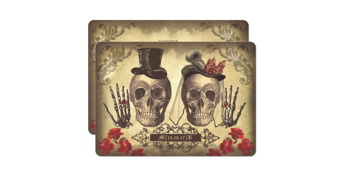 Day Of The Dead Wedding Invitations: Gothic Skull Couple Day Of The Dead Wedding Invite