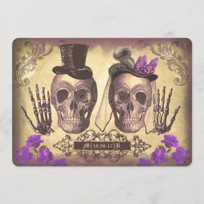 Gothic Skull Couple Day of The Dead Wedding purple Invitation