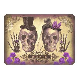 Gothic Skull Couple Day of The Dead Wedding purple 5x7 Paper Invitation Card
