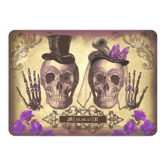 Gothic Skull Couple Day of The Dead Wedding purple Invitation