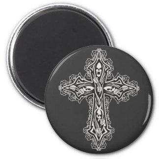 Gothic Skull Cross 2 Inch Round Magnet