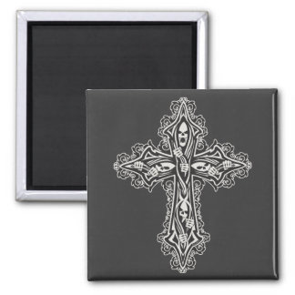Gothic Skull Cross 2 Inch Square Magnet