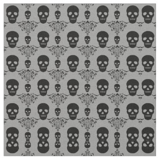 Gothic Skull Damask Fabric