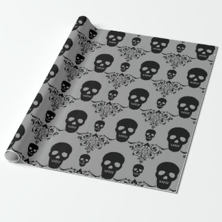 Gothic Skull Damask Wrapping Paper