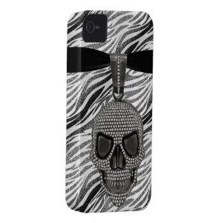 Gothic Skull Diamonds & Zebra Print Case-Mate iPhone 4 Case