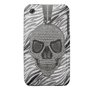 Gothic Skull Diamonds & Zebra Print Case-Mate iPhone 3 Case