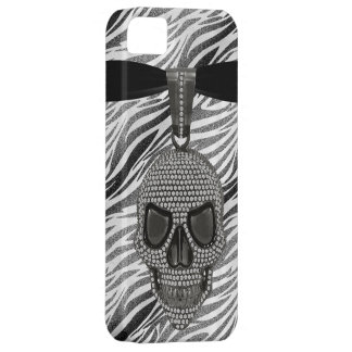 Gothic Skull Diamonds & Zebra Print iPhone SE/5/5s Case