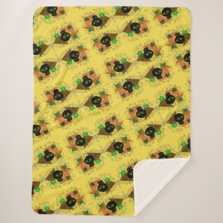 Gothic Skull - Earth Tone - Yellow- Sherpa Blanket