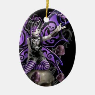 Gothic Skull Fairy Ceramic Ornament