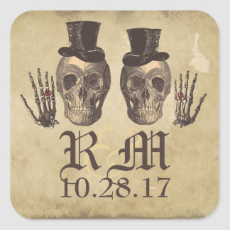 Gothic Skull gay couple Day of Dead Wedding Square Sticker