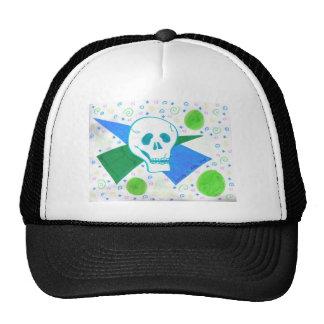 Gothic Skull Green Dot Trucker Hat