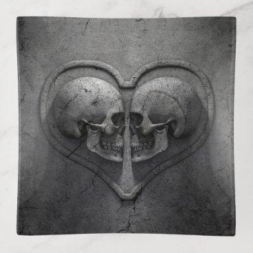 Halloween Themed Gothic Skull Heart Trinket Tray