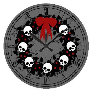 Gothic Skull Holiday Wreath Wallclock