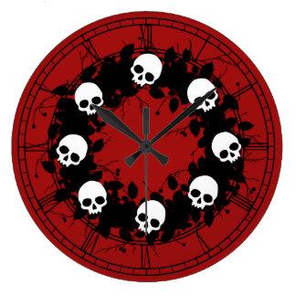 Gothic Skull Holiday Wreath Round Clocks