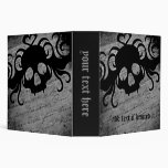 Gothic skull in black and gray, large vinyl binder