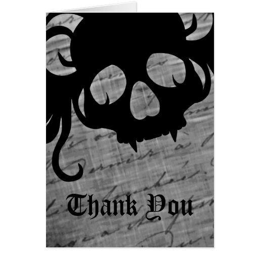 gothic skull in black and white  thank you card