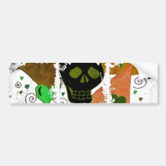 Gothic Skull Inverted to Black Bumper Sticker