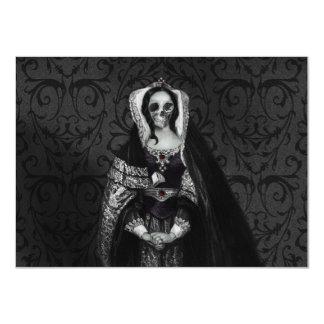 "Gothic Skull Lady 4.5"" X 6.25"" Invitation Card"