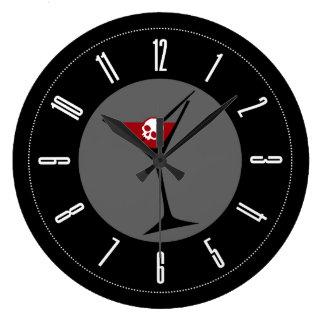 Gothic Skull Martini Round Clock