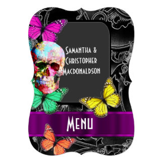 Gothic skull on dark black wedding menu card