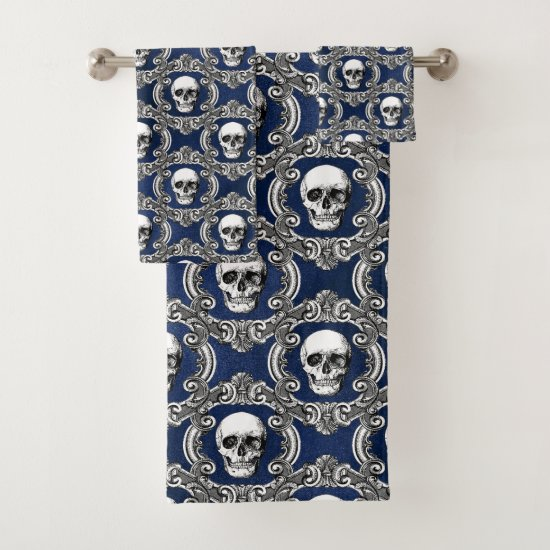 Gothic Skull Pattern Bath Towel