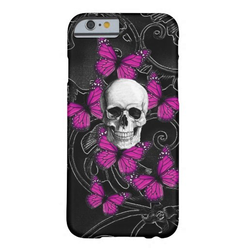 Gothic skull & purple butterflies barely there iPhone 6 case