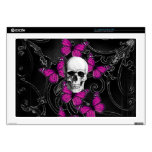 """Gothic skull & purple butterflies decal for 17"""" laptop"""