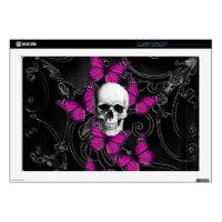 Gothic skull & purple butterflies