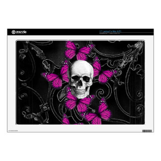 "Gothic skull & purple butterflies decal for 17"" laptop"
