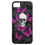 Gothic skull & purple butterflies iPhone 5 covers