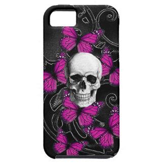 Gothic skull & purple butterflies iPhone SE/5/5s case
